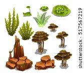 The Set Of Algae And Underwate...