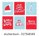 christmas cards set. vector... | Shutterstock .eps vector #517568185
