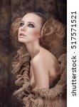 portrait of a girl model in a... | Shutterstock . vector #517571521