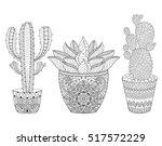 zentangle cactus set  vector... | Shutterstock .eps vector #517572229
