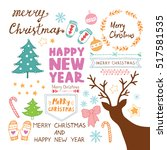 merry christmas and happy new... | Shutterstock .eps vector #517581535