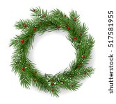 christmas wreath  garland on... | Shutterstock .eps vector #517581955