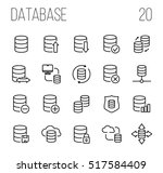 set of database icons in modern ... | Shutterstock .eps vector #517584409