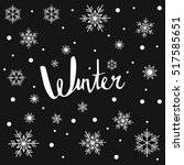 hello winter   hand drawn... | Shutterstock .eps vector #517585651