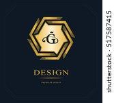 geometric monogram logo.... | Shutterstock .eps vector #517587415