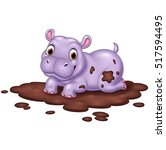 Cute Hippo In The Mud