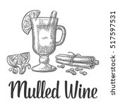 mulled wine with glass and...   Shutterstock .eps vector #517597531