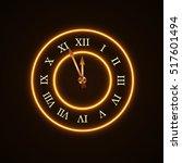 gold christmas magic clock... | Shutterstock .eps vector #517601494