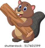 cartoon beaver holding wood     Shutterstock .eps vector #517601599