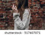stylish hipster gypsy woman... | Shutterstock . vector #517607071