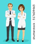 male and female doctors... | Shutterstock .eps vector #517609465