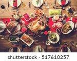 christmas family dinner table... | Shutterstock . vector #517610257