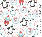 christmas pattern with santa ... | Shutterstock .eps vector #517611265