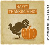 thanksgiving greeting card old...   Shutterstock .eps vector #517615765