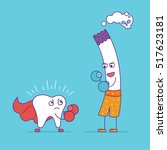 white tooth fighting or boxing... | Shutterstock .eps vector #517623181