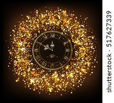 classic golden shiny clock with ... | Shutterstock .eps vector #517627339