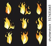 set of animation fire and... | Shutterstock .eps vector #517631665
