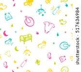 newborn baby necessities...   Shutterstock .eps vector #517636984