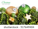 green and golden  christmas... | Shutterstock . vector #517649404