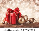 christmas gift box with... | Shutterstock . vector #517650991