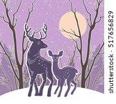 christmas illustration with... | Shutterstock .eps vector #517656829