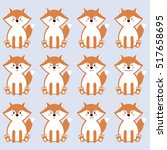 flat animals emoji set vector.... | Shutterstock .eps vector #517658695