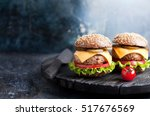 healthy cheeseburger with whole ... | Shutterstock . vector #517676569