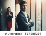 group of business people in... | Shutterstock . vector #517685299