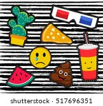 cute set of cartoon patch... | Shutterstock .eps vector #517696351