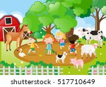 kids and farm animals in the... | Shutterstock .eps vector #517710649