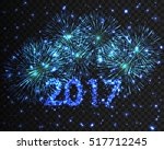 happy new year 2017 blue... | Shutterstock .eps vector #517712245