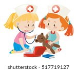 Kids Playing Nurse With Doll...