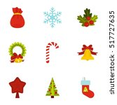 xmas icons set. flat... | Shutterstock .eps vector #517727635