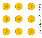 money of countries icons set.... | Shutterstock .eps vector #517729411
