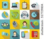 call center symbols icons set.... | Shutterstock .eps vector #517729834