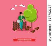 woman feeding chickens. farming ... | Shutterstock .eps vector #517762117