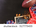 game day football party table. | Shutterstock . vector #517775455
