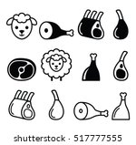 lamb meat   icons set | Shutterstock .eps vector #517777555