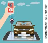 hand insert coin on smartphone... | Shutterstock .eps vector #517785709