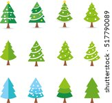 vector christmas tree flat icon | Shutterstock .eps vector #517790089