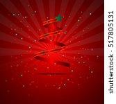 christmas tree red ribbon shape ...   Shutterstock .eps vector #517805131