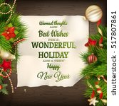 holidays greeting and christmas ... | Shutterstock .eps vector #517807861