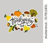 happy thanksgiving day... | Shutterstock .eps vector #517811851