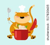 cat chef sits with a pot of... | Shutterstock .eps vector #517820605