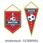 a pair of soccer pennants... | Shutterstock . vector #517830901