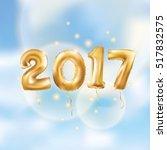 metallic gold letter balloons ... | Shutterstock .eps vector #517832575