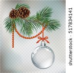 vector christmas fir tree and... | Shutterstock .eps vector #517834141