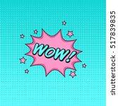 comics style vector sticker wow ... | Shutterstock .eps vector #517839835