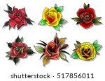 neo traditional tattoo roses... | Shutterstock .eps vector #517856011