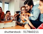 group of young friends eating... | Shutterstock . vector #517860211